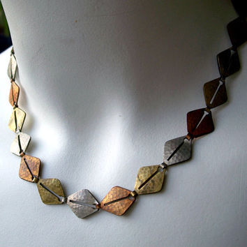 Vintage Mixed Metal Hammered Necklace,Brass Copper Silver Necklace,Mid Century Necklace,Geometric Necklace,Unusual Necklace,Mixed Metals