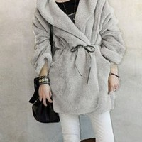 Keep Warmer Loose Bat-wing Gray Coats : Wholesaleclothing4u.com