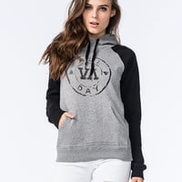 Rvca All Day Womens Fleece Hoodie Black/Gray  In Sizes