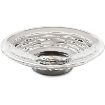 Luxe Freestanding Round Soap Dish Holder Tray Soap Holder, Hand Blown Glass