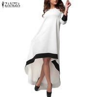 ZANZEA Fashion Autumn 2017 Women  3/4 Sleeve Long Maxi Dress Patchwork O Neck Vestidos Plus Size S-5XL Asymmetrical Dress