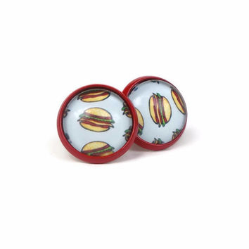 Tiny Hamburger Earrings, Fun Burger Gifts
