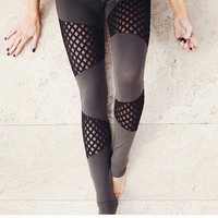 Women Unique Color Mesh Yoga Pants High Waist Solid Fitness Leggings Compression Running Tights