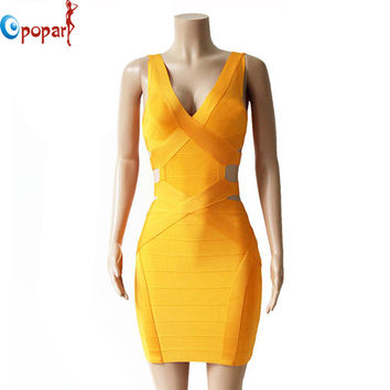 2016 New Women Sexy Deep V-neck Solid Hollow out Tank Bandage Dresses Cocktail Party Mini Bodycon Dress Droping Shipping HL1020