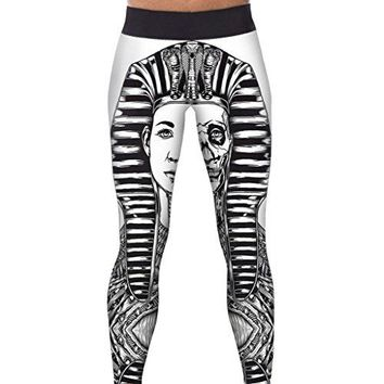 Alive Womens Fitness Yoga Sport Pants Digital Printed Stretch Ankle Legging Tights Pants one size