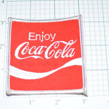 Enjoy Coca Cola Vintage Iron-On Patch e9a Red Background Coke Company Formed 1886 Free Shipping