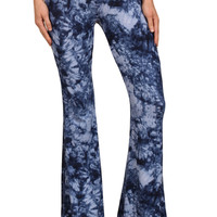 Womens Blue Splatter Tie Dye Print High Rise Bell Bottom Pants