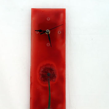 Fused glass modern red  Wall  clock
