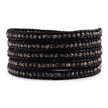 CHAN LUU ~ Gunmetal and Black Leather Wrap
