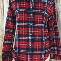 Check Yes or No Plaid Flannel Shirt- Red