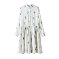 Ballet Girl Print Stand Collar Button Long Sleeve Pleated Dress