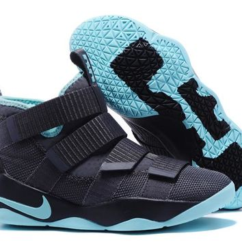 Nike LeBron Soldier 11 EP Dark Gray/Blue Basketball Shoes US7-12
