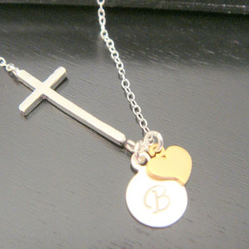 Sterling Silver Initial Disc, Cross and Heart Love Necklace Bridal Bridesmaids Birthday Off Center Sideways Necklace Religious Necklace