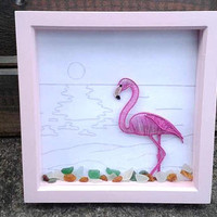 Wire Flamingo Wall Art, Handmade Wire Wrapped Flamingo Frame, Summer Outdoors Amber And Seaglass Wire Wall Art, Wire Weaved Home Decor,