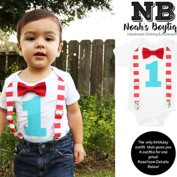 Circus First Birthday Outfit Baby Boy Carnival Theme Red White Aqua
