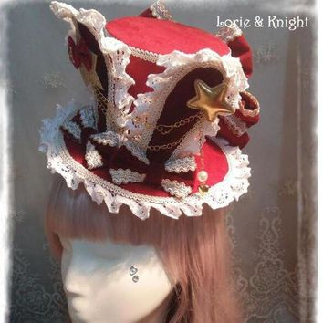 DCCKH6B DIY Alice in Wonderland Inspired Rabbit Ear Lolita Cosplay Mini Top Hat White & Red