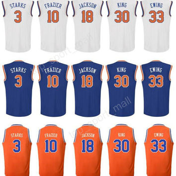 Printed 3 John Starks Jersey Man 10 Walt Frazier 33 Patrick Ewing Basketball Jerseys 18 Phil Jackson 30 Bernard King Blue Orange White