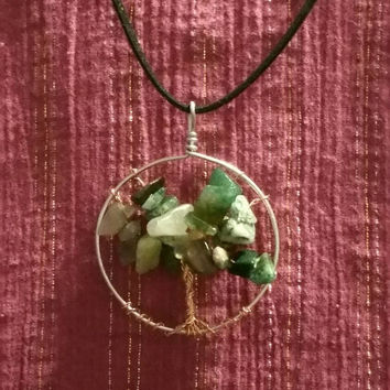 Handmade wire tree of life necklace with chipped rock beads and felt chain.