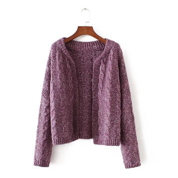 Autumn Women's Fashion Casual Twisted Sweater Tops Jacket [8541317831]