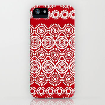 Cute Red Crochet Lace Flowers  iPhone & iPod Case by Silvianna