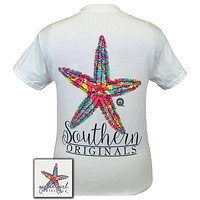 Girlie Girl Originals Southern Preppy Starfish Pattern White T-Shirt