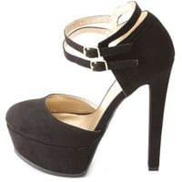 Double Ankle Strap D'Orsay Platform Heels by Charlotte Russe