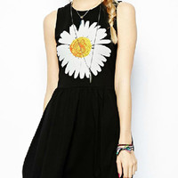 Black Sunflower Print Sleeveless Skater Dress