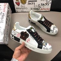 Dolce & Gabbana Men's Leather Fashion Sneakers Shoes D&G Shoes size 38-44