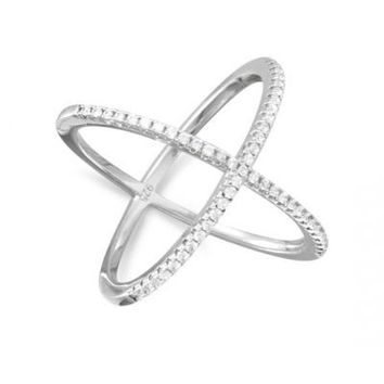 Criss Cross X Ring with Signity CZs