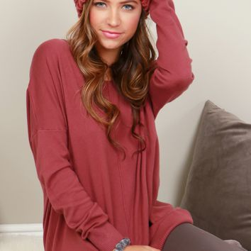 Contemporary V-Neck Sweater Dust Plum