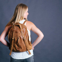 Brown Leather BackPack - Leather Tote Bag - Laptop Backpack - Elegant leather Handbag for women