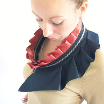 Massive zipper collar from upcycled silk in dark blue by Bartinki