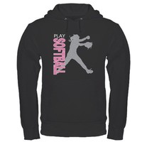 Girls Softball Hoodie (dark) on CafePress.com