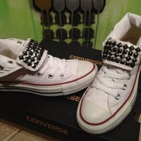 Custom Gun Metal Studded White High Top Converse All Star - Chuck Taylors! ALL SIZES &