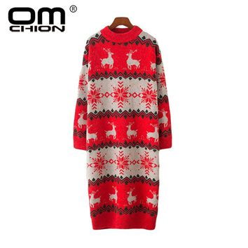 OMCHION 2018 Autumn Winter Ugly Christmas Sweater Women Half Turtleneck Knitted Long Pullover Deer Snow Korean Jumpers LMM48