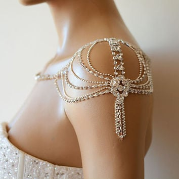 Wedding Rhinestone Jewelry, Wedding Dress Shoulder, Wedding Dress Accessory, Bridal Epaulettes, Wedding  Accessory, Bridal Accessory