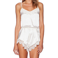 Lovers + Friends Breakfast in Bed Romper in White