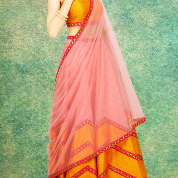 Women's Raw Silk Fabric & Orange Pretty Circular Lehenga Style