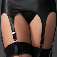 Sexy Rubber Six Garter Belt