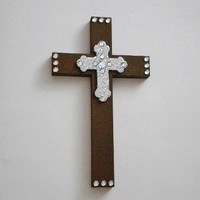 BROWN BLING & SILVER Wall Cross- Hand Painted Chocolate Brown Wood Cross with Silver Glitter Cross and Clear Rhinestones - 9.5 x 5.5