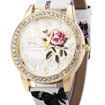Faux Leather Strap Rhinestone Floral Print Watch