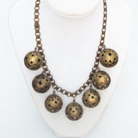 Victorian Bookchain Brass Necklace with Large Filigree Balls