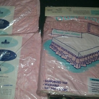 Vintage Fitted Pink Ruffled Bed Skirt and Matching Pillow Shams
