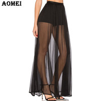 2017 Women Maxi Long Black Sheer Skirts with Shorts Tulle Chiffon Pleated Sexy Summer Beach Cover Up