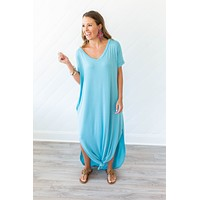 Just Stay Maxi Dress - Milky Blue