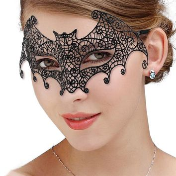 Cool M MISM 1PC Sexy Black Lace Face Mask For Masquerade Party Fashion Queen Female Hollow Mask Goggles Nightclub HeadbandAT_93_12