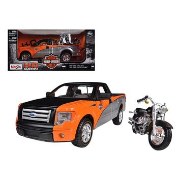 2010 Ford F 150 STX Orange/Black/Silver 1/27 & 1/24 Harley Davidson FLSTF Fat Boy Motorcycle by Maisto