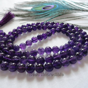 Natural Amethyst Necklace 8mm Amythest Beads Dark Purple Color 108 Beads Rosary Necklace Japa Mala