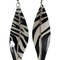 Animal Print Zebra Leaf with Crystal Studded Earrings - S Shape