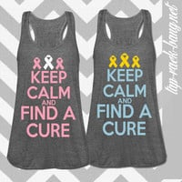 Keep Calm And Find A Cure Racerback  - Women's Bella Tank Top